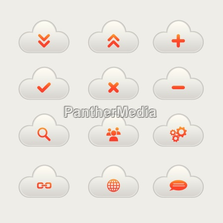 set of cloud icons orange