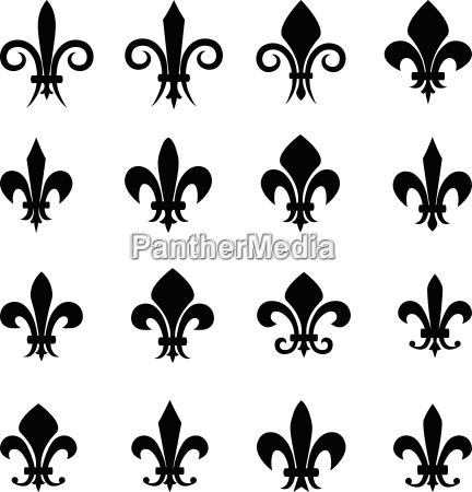 set of 16 different fleur de