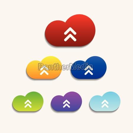 set of six colorful upload cloud