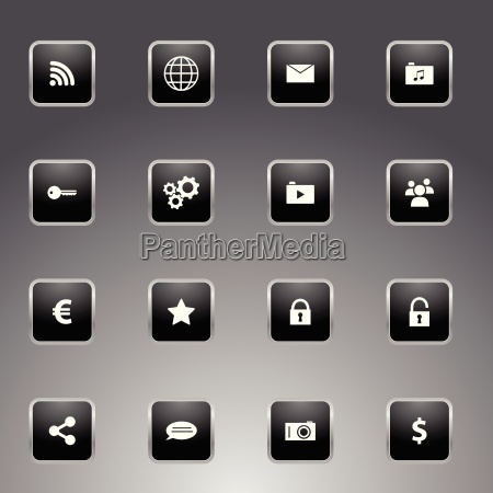 set of black icons with silver