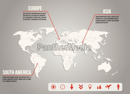 infographic world map with various icons
