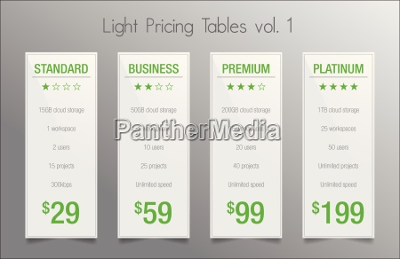 light pricing tables set of