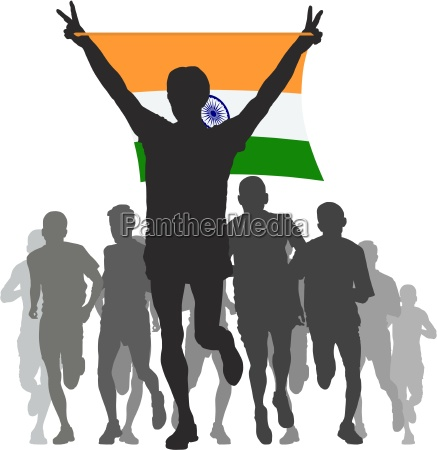 winner with the india flag at