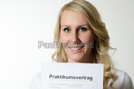 young woman with internship contract