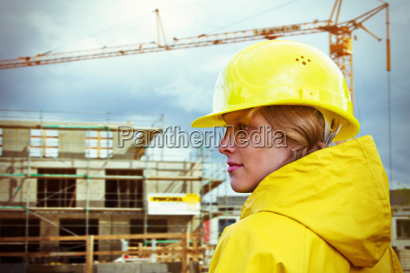 young woman at the construction site