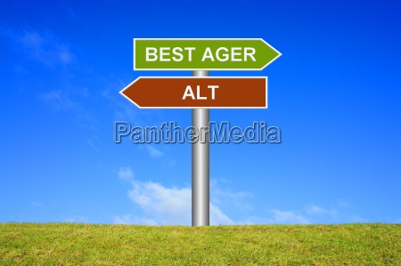 sign signpost best ager takes old