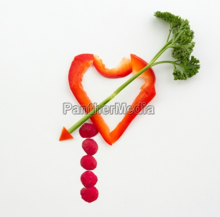 heart of vegetables with arrow