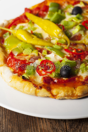 closeup of a pizza on a