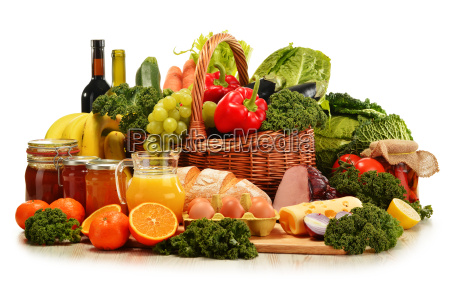 wicker basket with assorted organic vegetables
