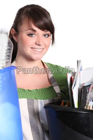 girl sorting her garbage