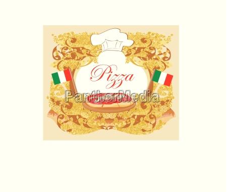 pizza menu template vintage card