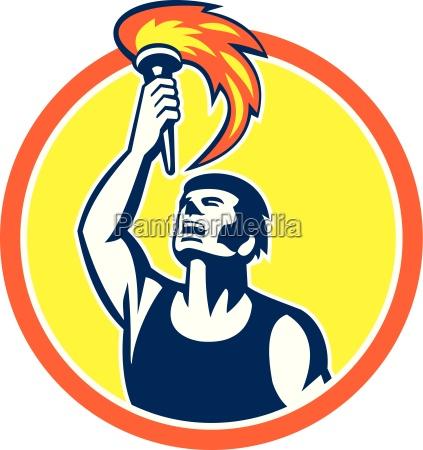 athlete player raising flaming torch circle