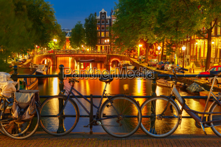 night illumination of amsterdam canal