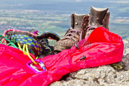 hiking equipment on the mountain