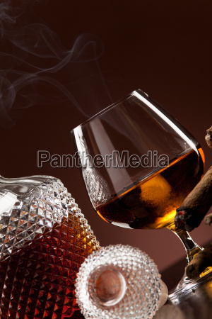 cognac in snifter and smoke a