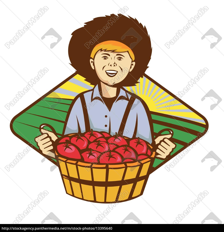 farmer, boy, straw, hat, tomato, harvest - 13395640