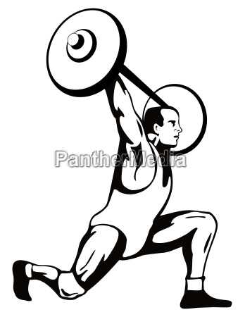 weightlifter lifting barbell retro