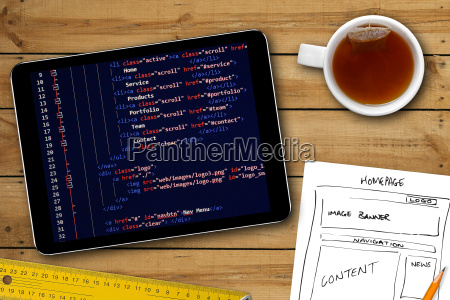 website wireframe sketch and programming code