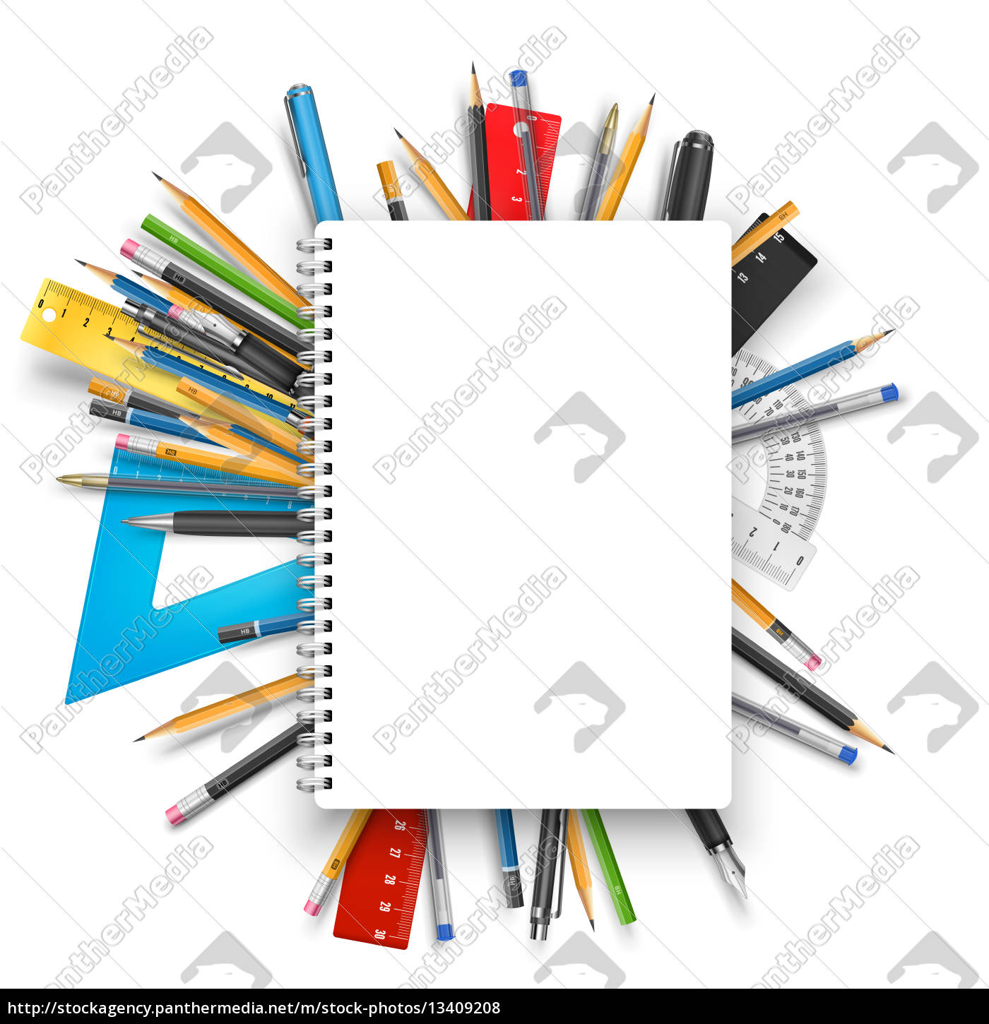 notepad, and, pens - 13409208