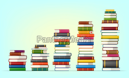 stacks of colorful books
