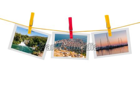 three photos of croatia on clothesline