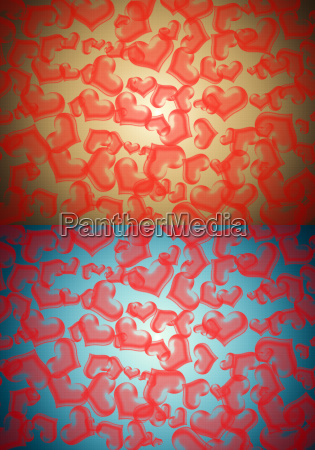 red heart on two color background