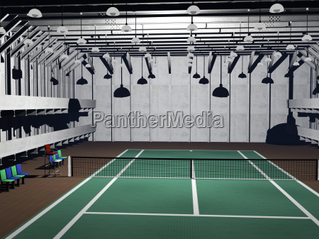 tennis court with green lining