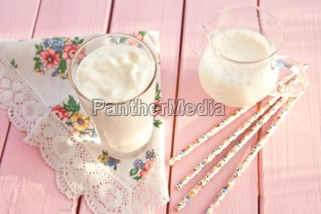 fresh yogurt in a glass