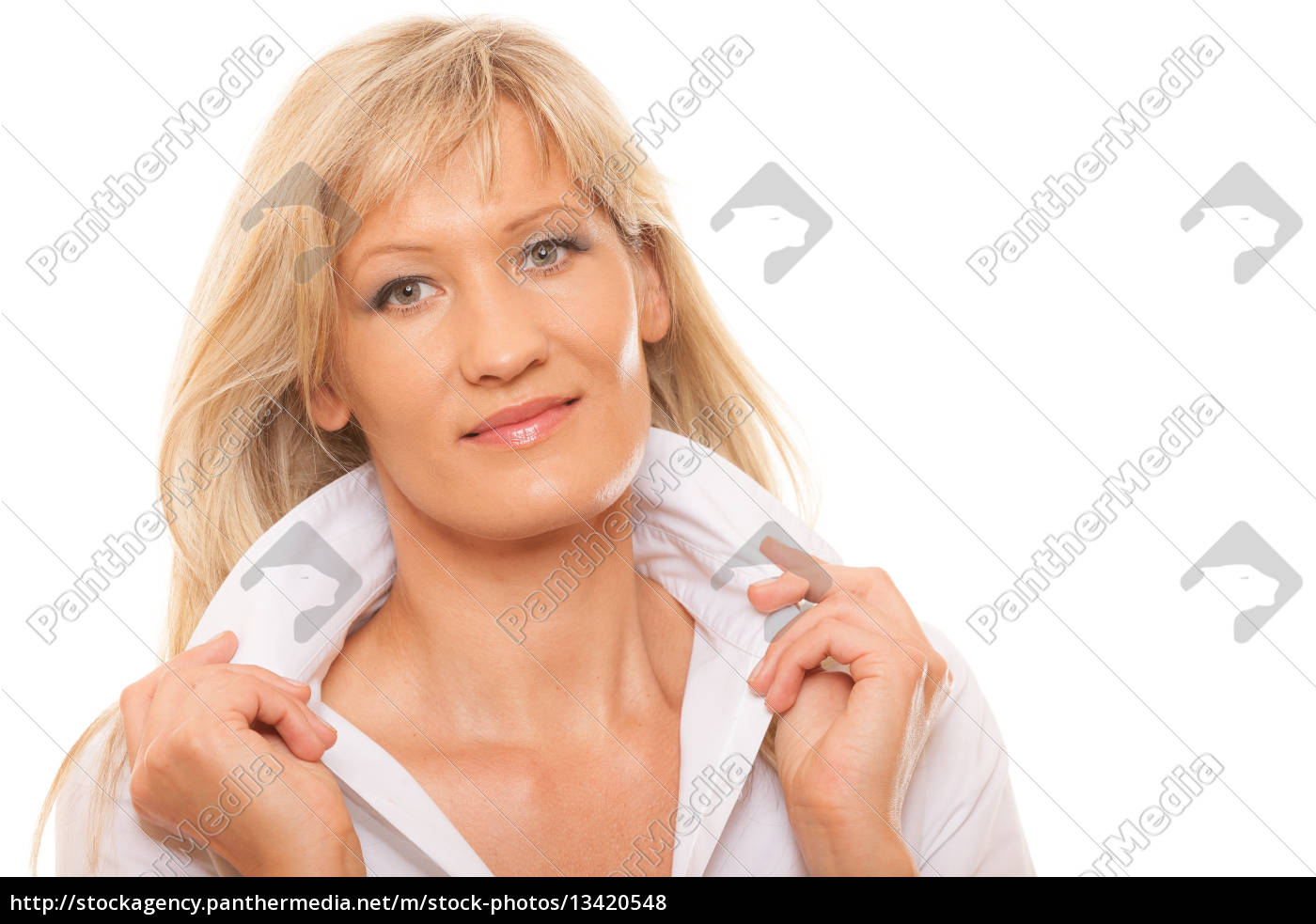 portrait, mature, business, woman, isolated - 13420548