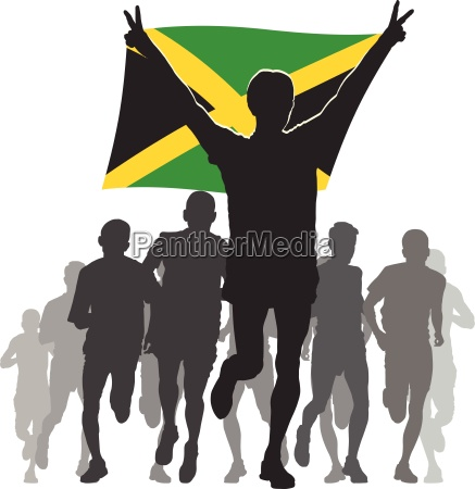athlete, with, the, jamaica, flag, at - 13422454