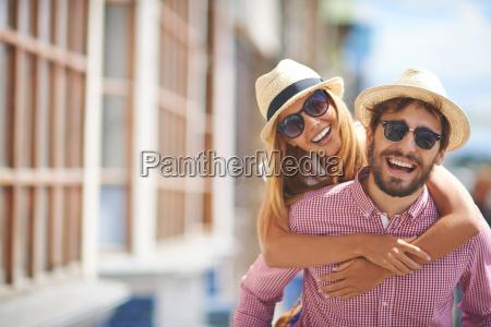 joyful tourists