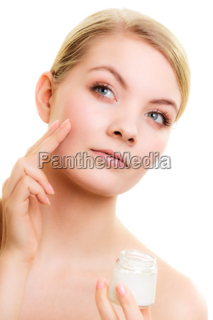 skin, care., girl, applying, moisturizing, cream. - 13423484