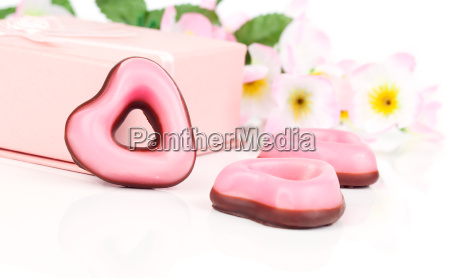 pink heart cookies bake for valentines