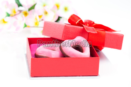 pink heart shaped biscuits for valentines