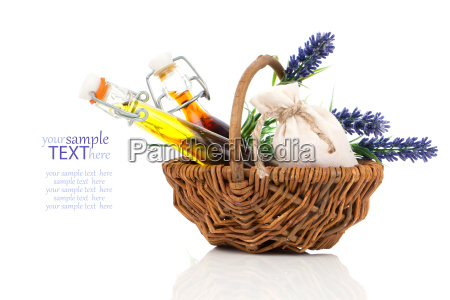 spa willow basket with massage oil