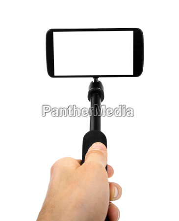 taking selfie hand hold monopod