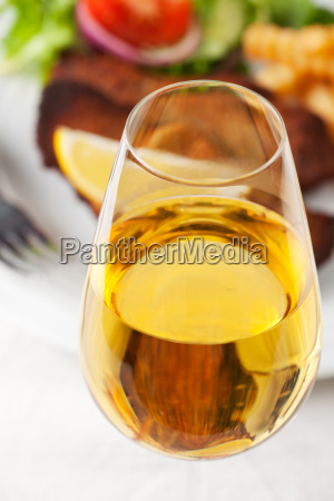 white wine and wiener schnitzel
