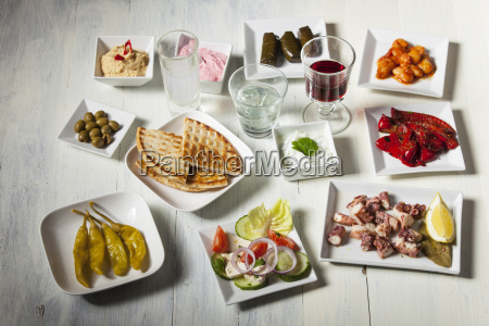 variety of greek appetizers