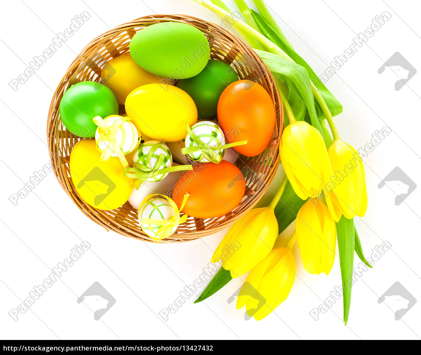basket, with, easter, eggs, and, yellow - 13427432