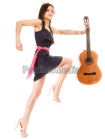 music lover summer girl with guitar