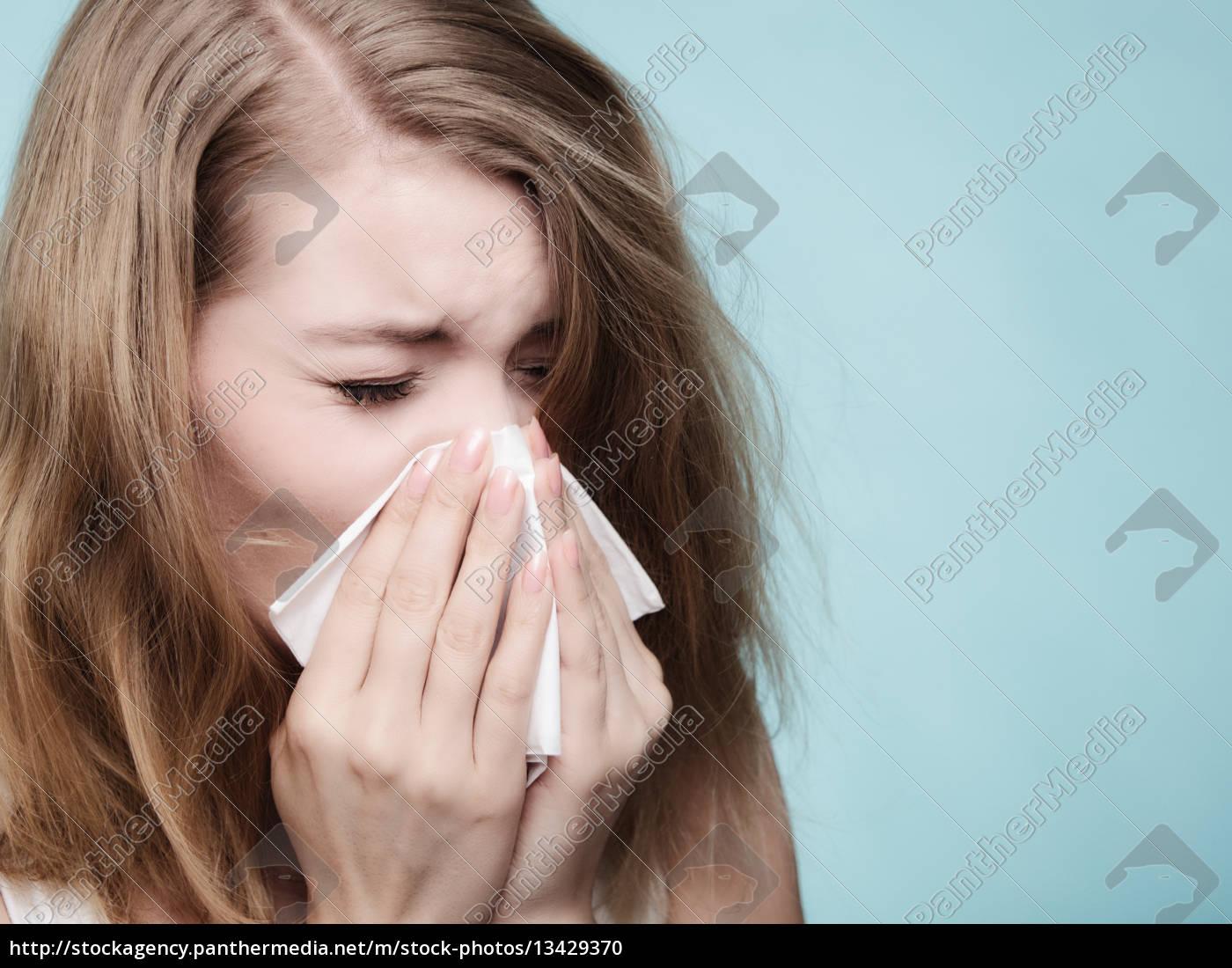 flu, allergy., sick, girl, sneezing, in - 13429370