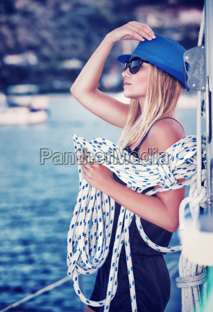 sexy, girl, on, sailboat - 13430314