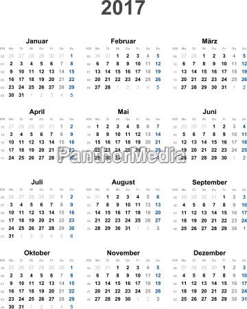 calendar 2017 universal excluding holidays
