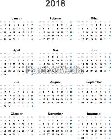 calendar 2018 universal excluding holidays