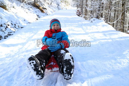 boy, with, sled - 13444454