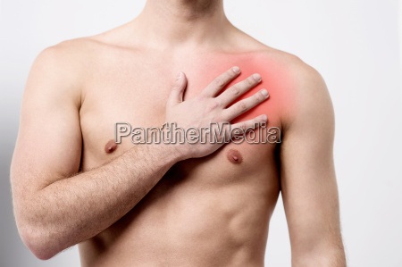 man having chest pain heart attack