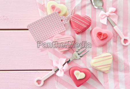 colorful petit fours in heart shape