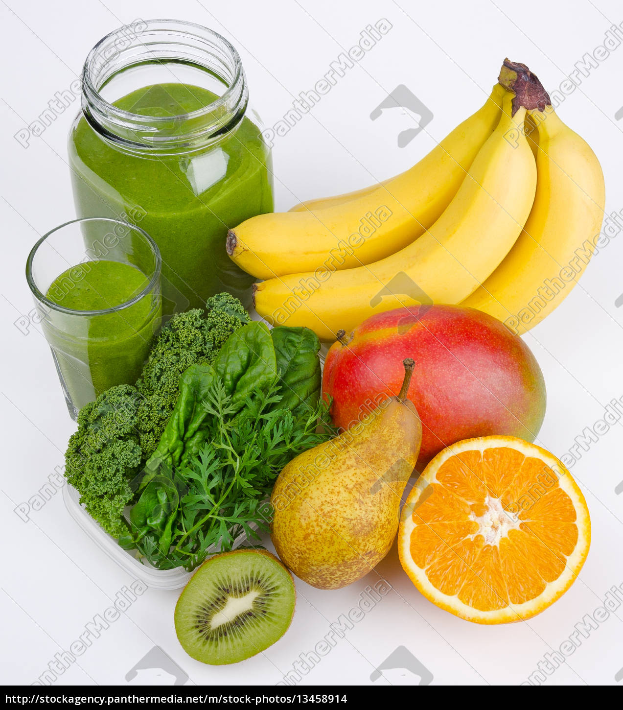 green, smoothie, with, three, greens, and - 13458914