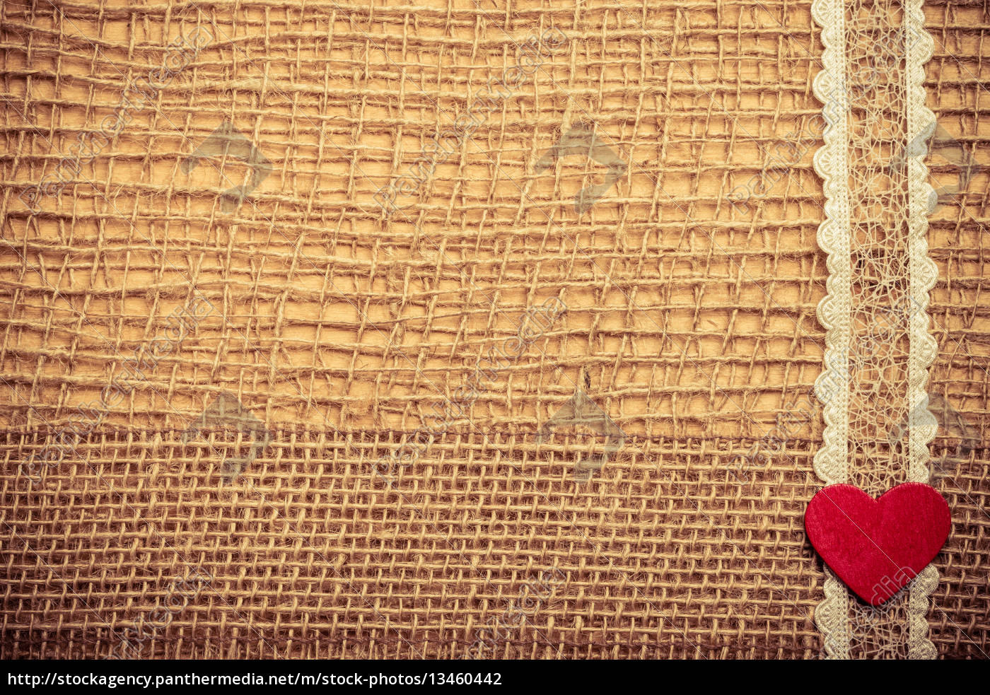 red, heart, on, abstract, cloth, background - 13460442