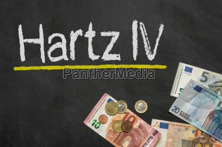 blackboard with money hartz iv